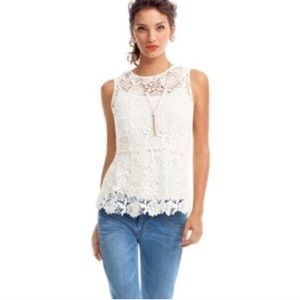 • CAbi • Needle Lace Shell Blouse White XS